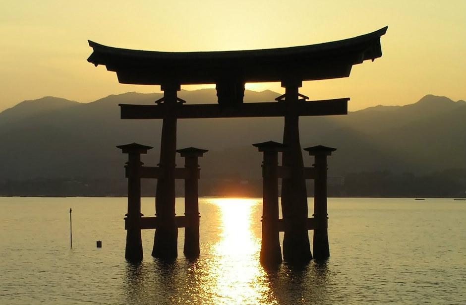 couché de soleil à miyajima