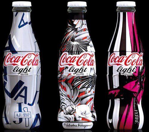 Bouteilles de coca cola light édition limitée armani, ferragamo, ferré