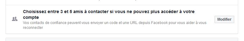 sécurité connection facebook, choix de 5 amis