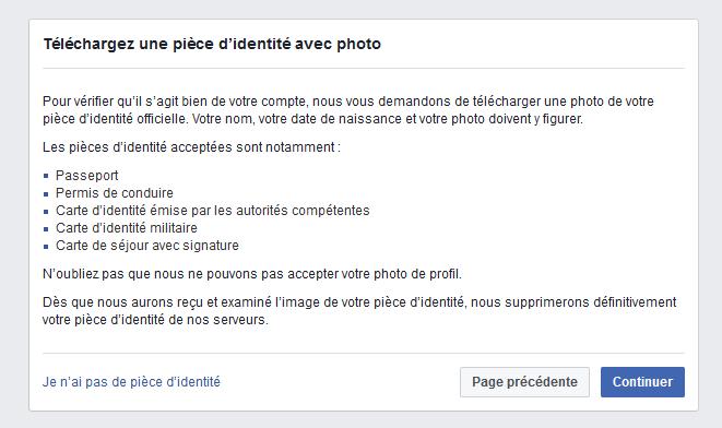 facebook demande de carte identité