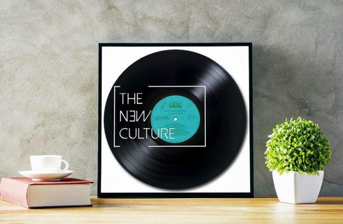 oeuvre sur disque vinyle recyclé
